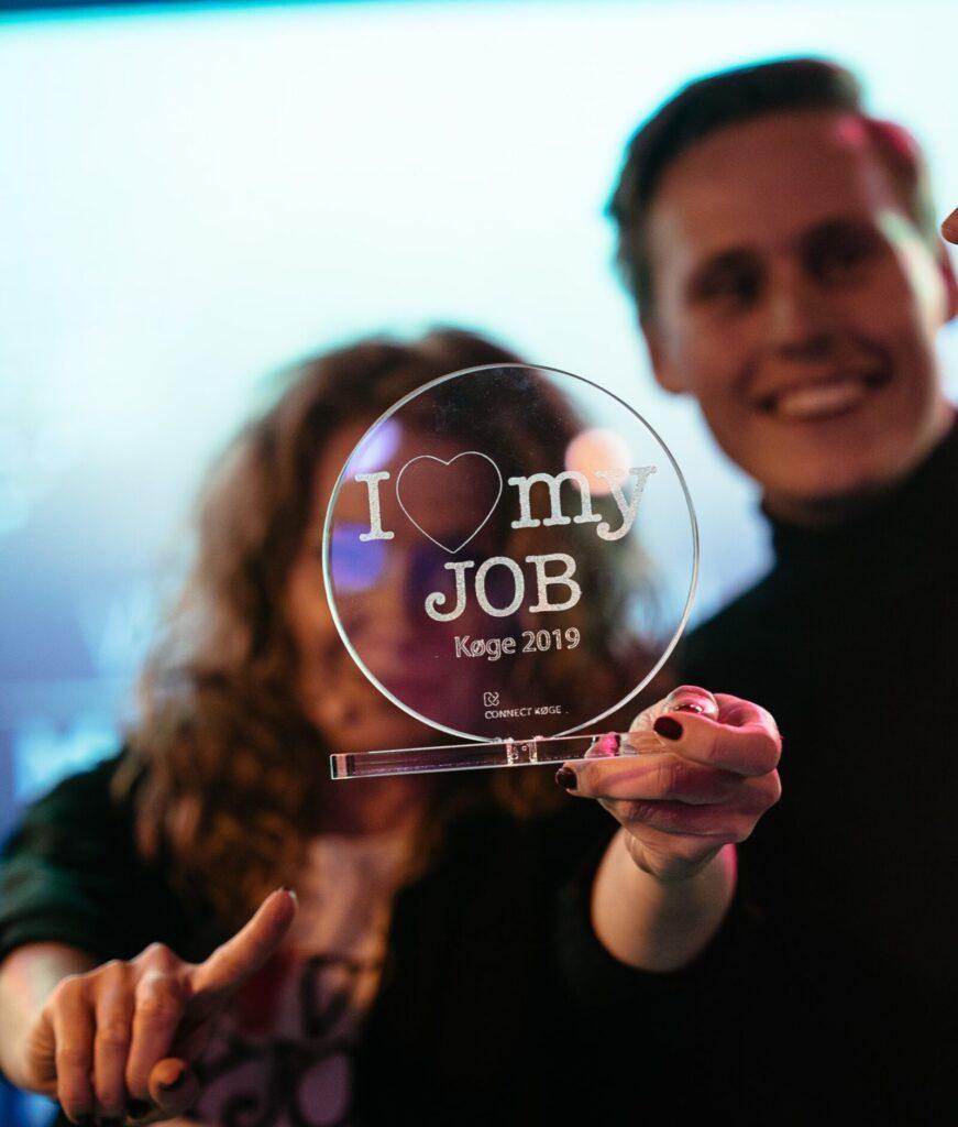 Billede af trofæet for ILoveMyJob-prisen
