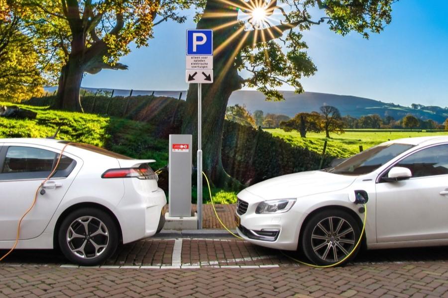 Billede af el-biler ved ladestandere